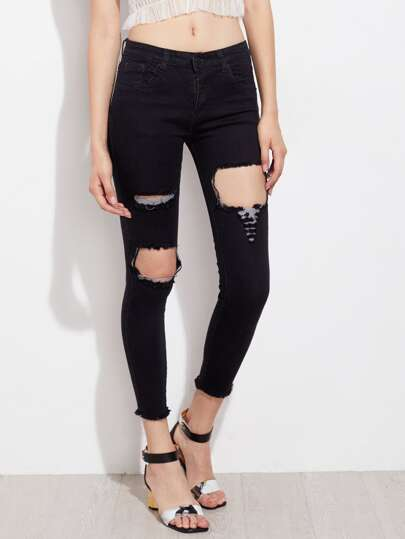 Cut Out Raw Hem Cropped Jeans