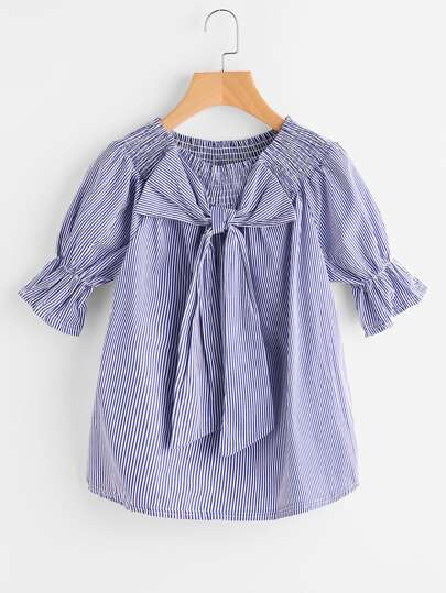 Bow Detail Pinstriped Shirred Blouse