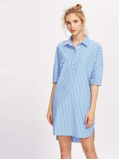 Half Placket Dolman Sleeve Dolphin Hem Dress