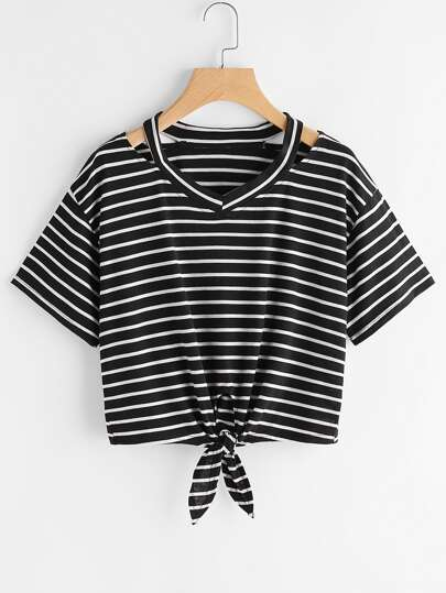 Ripped Neck Knotted Hem Striped T-shirt