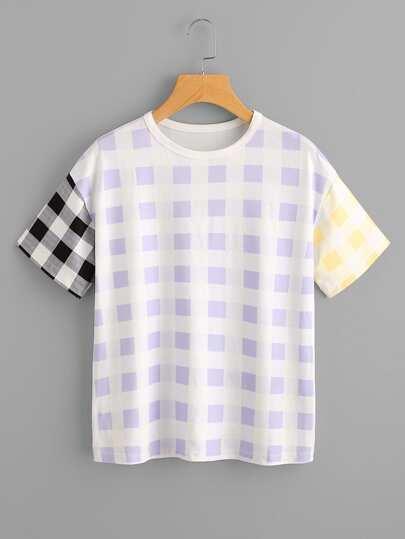 Camiseta con hombros caídos de cuadros