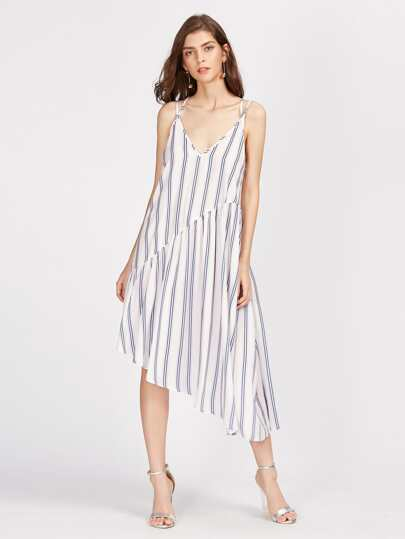 Double Strap Asymmetric Cut And Sew Striped Dress