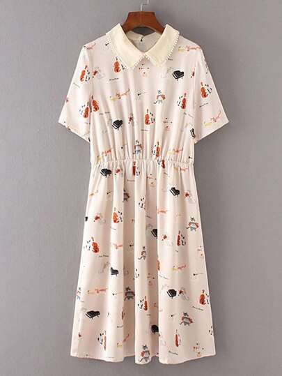 Cat Print Pom Pom Trim Pleated Dress