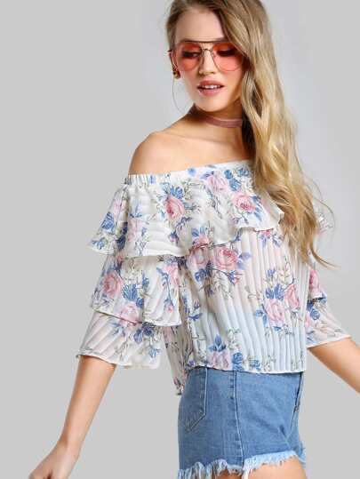 Layered Flounce Sheer Top IVORY