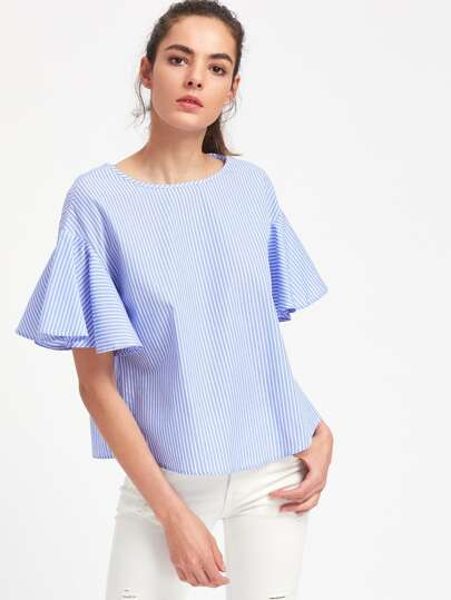 Drop Shoulder Flutter Sleeve Striped Top