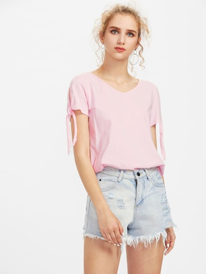 Split Tie Sleeve T-shirt
