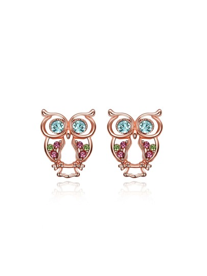 Rhinestone Owl Shaped Stud Earrings