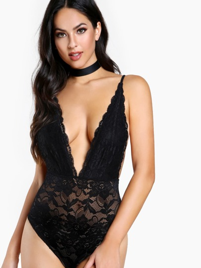 Deep V Lace Bodysuit BLACK