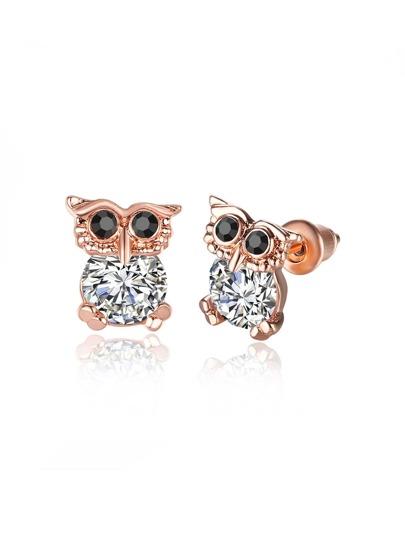 Rhinestone Owl Shaped Stud Earrings