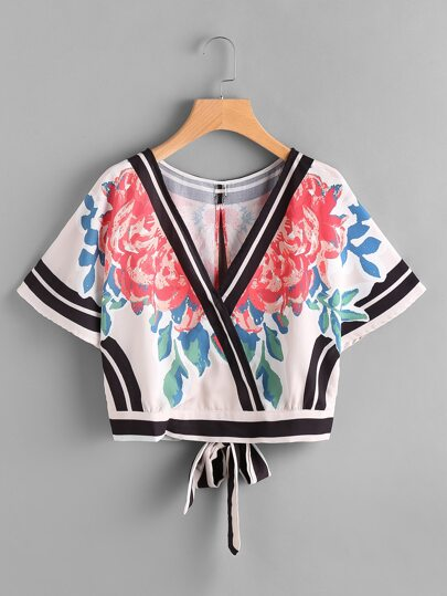 Tie Open Back Striped Trim And Flower Print Top