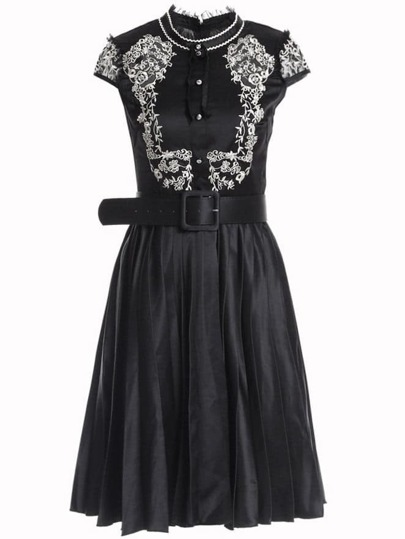 Flowers Embroidered Belted A-Line Dress