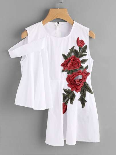 Asymmetrical Hem Flower Embroidery Top