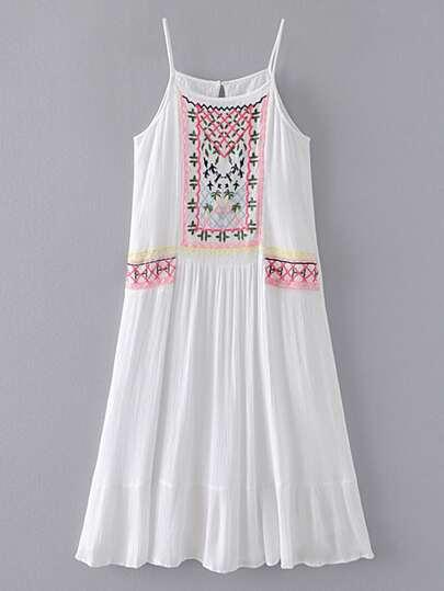 Embroidery Ruffle Hem Cami Dress