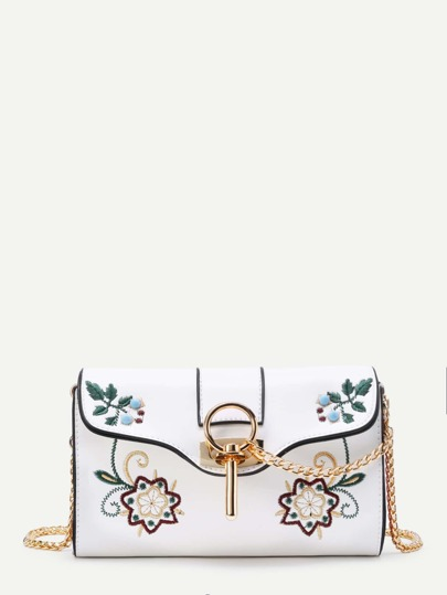 Calico Embroidery PU Crossbody Bag