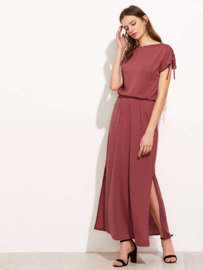 Shirred Drawstring Sleeve Slit Side Dress