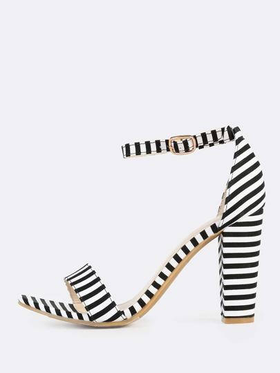 Ankle Strap Stripe Heels BLACK WHITE