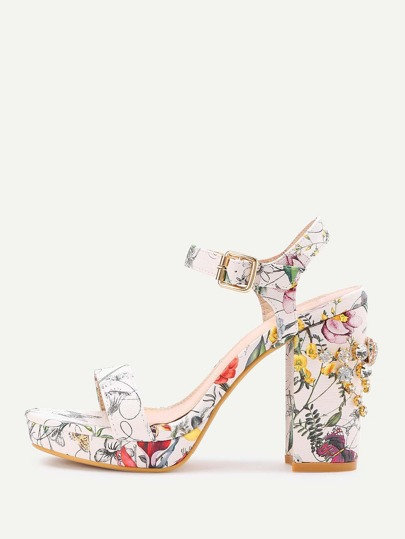 Rhinestone Calico Print Block Heeled Sandals