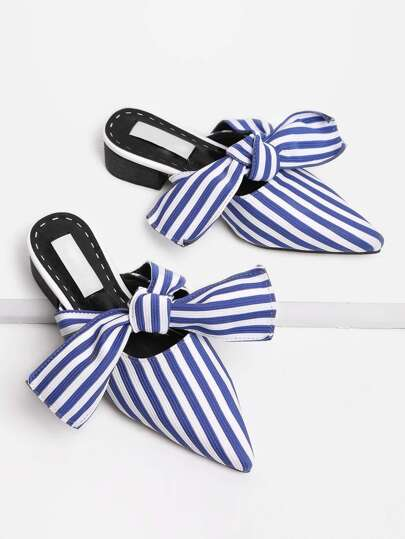 Bow Tie Striped Print Heeled Slippers