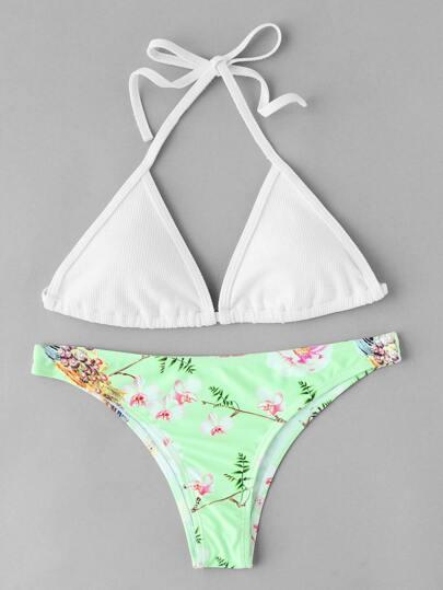 Bikini Set mit Blumenmuster, hohem Beinschnitt und Selbstbindung