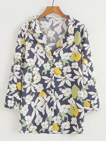 Floral Print Single Breasted Blouse