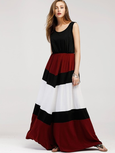 Color Block Floor Length Tank Dress