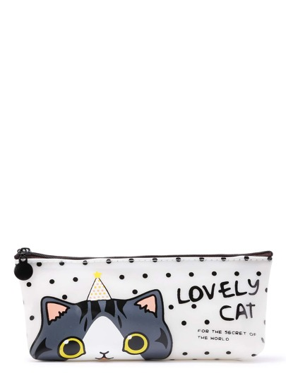 Cat & Dot Print Accessory Case