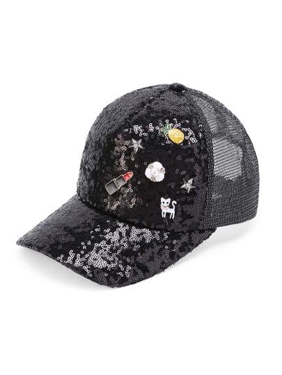 Pineapple And Cat Detail Sequin Baseball Cap