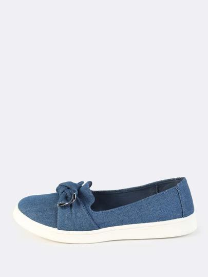 Denim Bow Slip On Sneakers BLUE DENIM