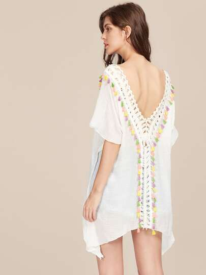 Hollow Out Crochet Panel Tassel Trim Beach Kaftan