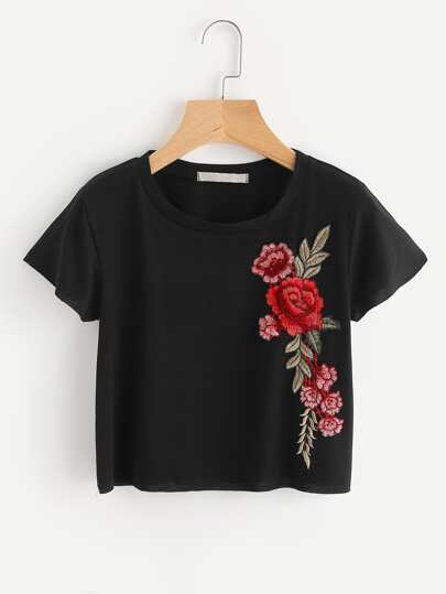 Crop T-Shirt mit Stickereien und Applikation
