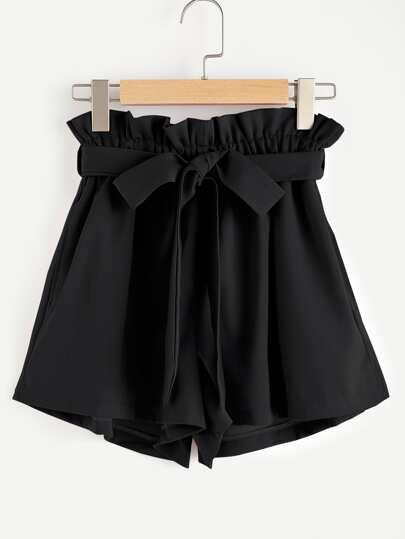 Shorts avec lacet et taille ruché