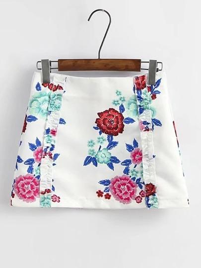 Jupe imprimée fleuri avec le zip