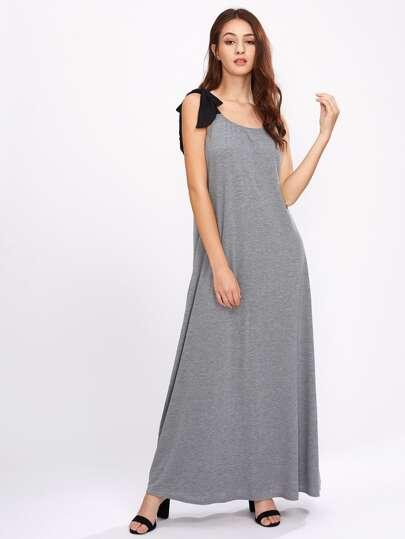 Contrast Tie-Strap Marled Dress