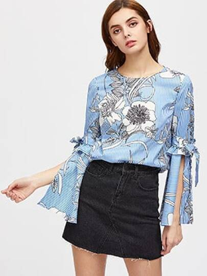 Flower And Stripe Print Belted Split Bell Sleeve Top