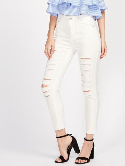 Slashed Skinny Jeans