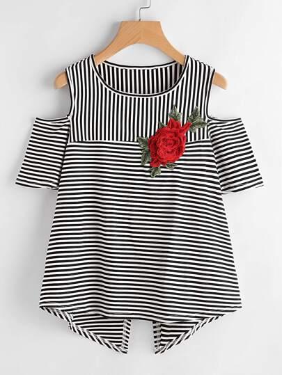 T-shirt a strisce con applique ricamato