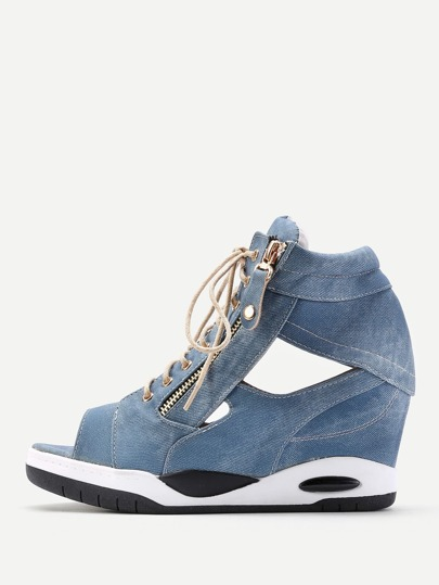 Zipper Front Lace Up Denim Wedges