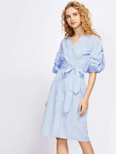 Vertical Striped Ruched Sleeve Surplice Dress