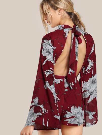 Sheer Tie Up Floral Print Romper BURGUNDY