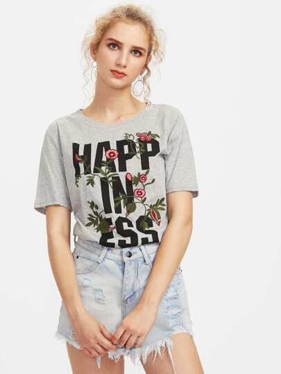 Heather Knit Flower Embroidered T-shirt