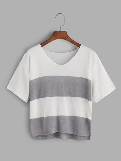 Dip Hem V Neck Color Block Tee