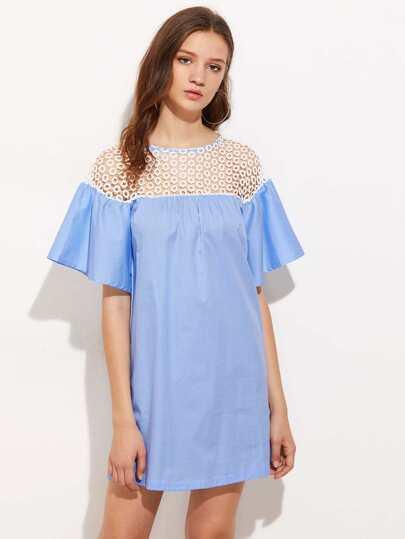 Contrast Hollow Out Crochet Yoke Dress