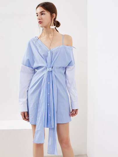 Asymmetric Shoulder Contrast Sleeve Pinstripe Shirt Dress