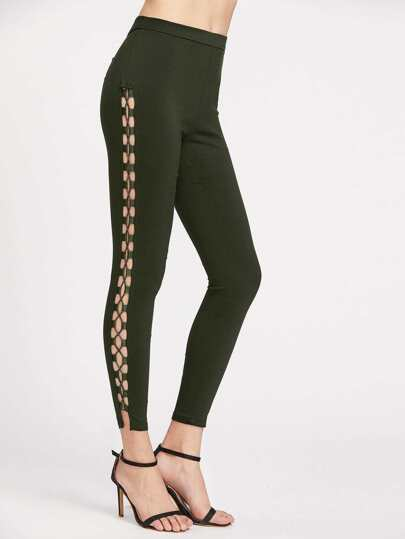 Lace Up Side Zip Back Skinny Pants