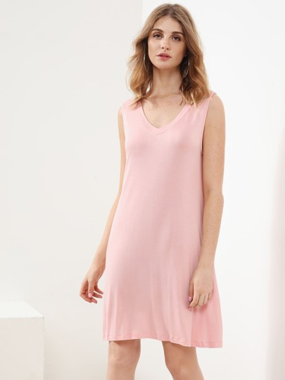 V-Neckline Sleeveless Dress