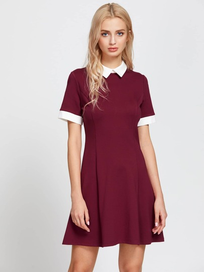 Contrast Collar And Cuff Fit & Flare Dress