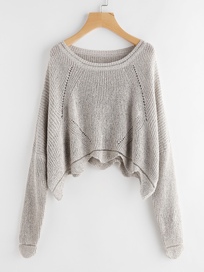 Scallop Hem Hollow Out Dolman Jumper