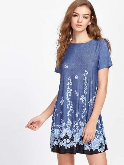 Vine Flower Print Flowy Dress