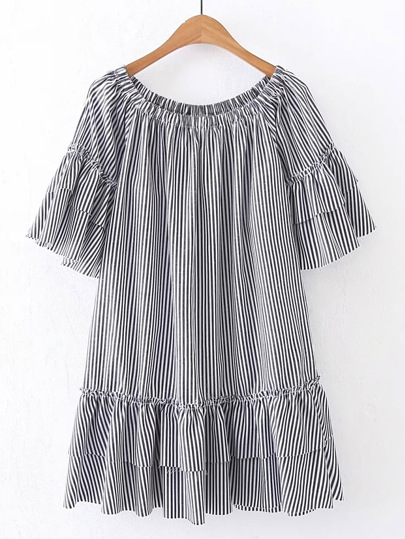 Boat Neckline Pinstripe Tiered Dress
