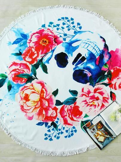 Flower & Skeleton Print Fringe Trim Round Beach Blanket